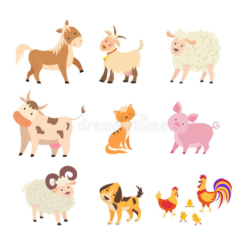 Different home farm animals set: horse, cow, sheep, goat, cat, dog, pig, hen, rooster, chicken, ram. vector illustration