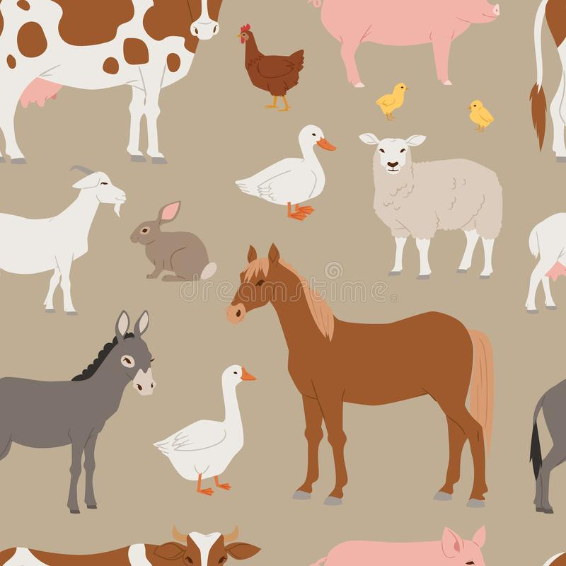 Different home farm vector animals and birds like cow, sheep, pig, duck farmland set illustration seamless pattern. Different home farm vector animals and birds stock illustration