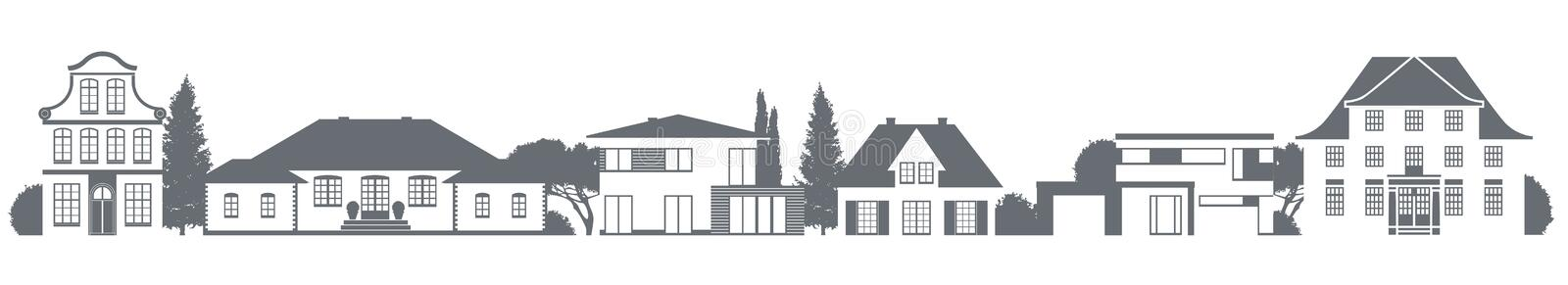 Different homes. A vector variety of homes in different architectural styles royalty free illustration