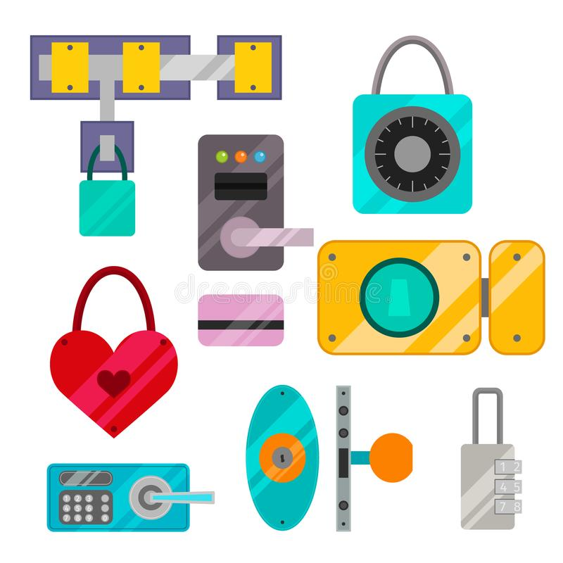 Different house door lock icons set vector safety password privacy element with key and padlock, protection security vector illustration