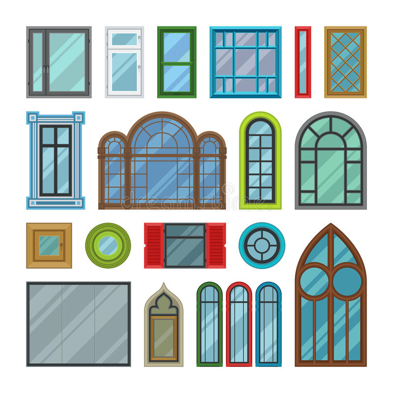 Different house windows vector elements stock vector for Different types of house windows