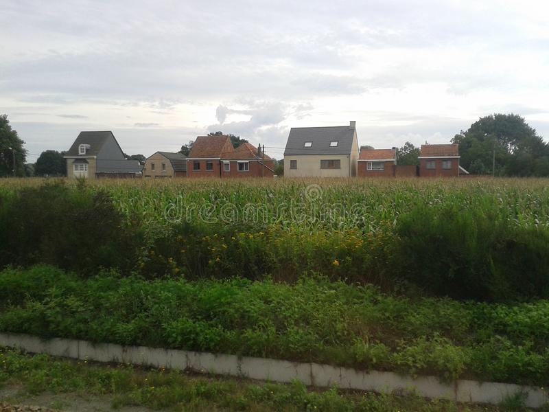Different houses. Far houses outside the town royalty free stock photography