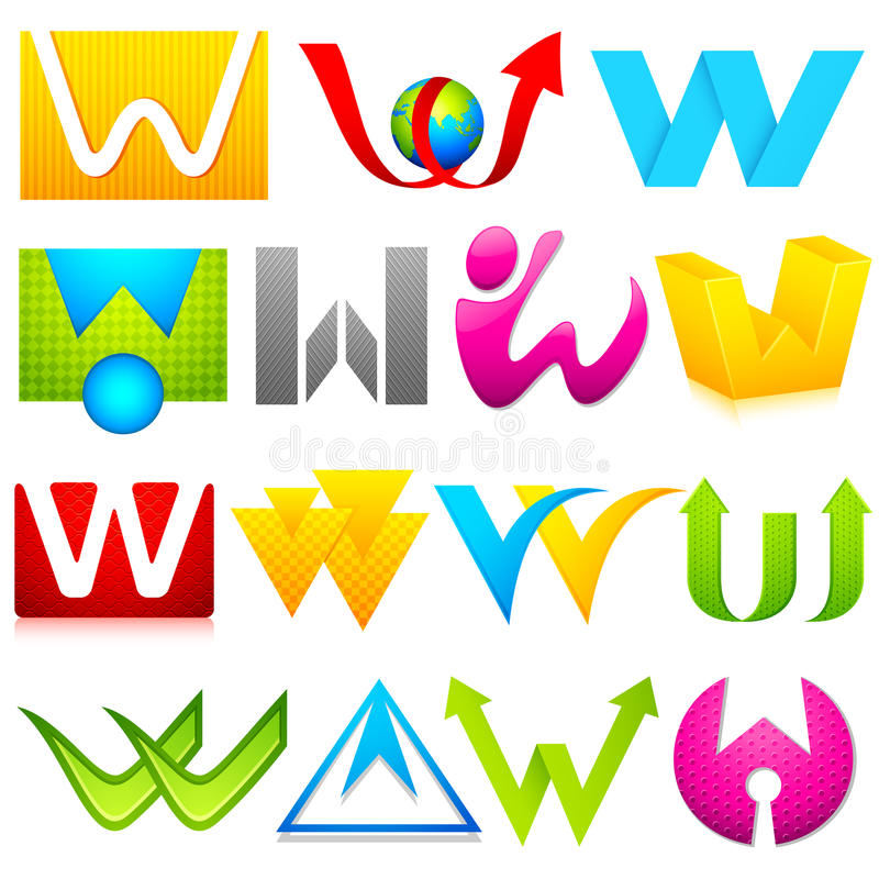 Download Different Icon With Alphabet W Stock Vector - Image: 25108125
