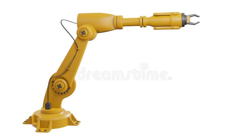 Different industrial robots isolated on white background 3d rendering white robotic arm with blank space on white background stock illustration