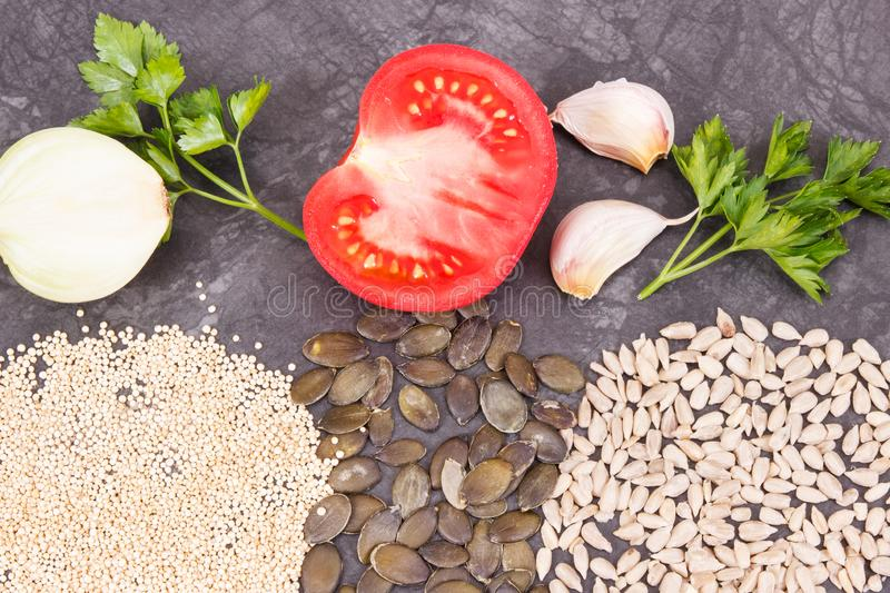Different ingredients as source zinc, natural minerals and fiber. Concept of healthy lifestyle and nutrition. Different nutritious ingredients as source zinc stock photography