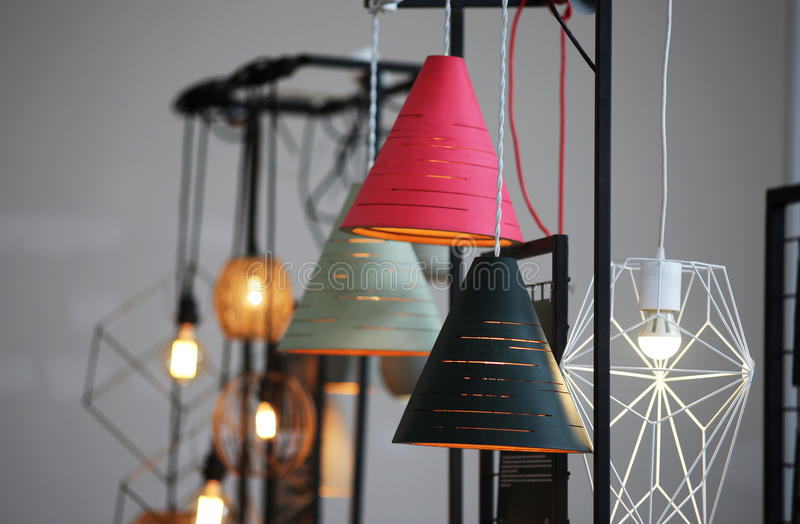 Different interior lighting bulbs. Different interior lighting lamp in the loft royalty free stock photos