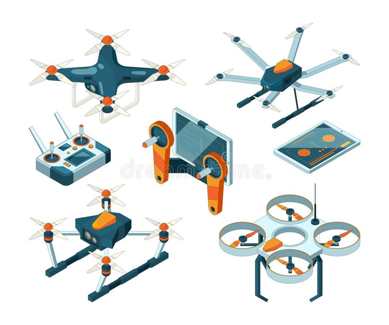 Different isometric illustrations of drones and quadcopters royalty free illustration