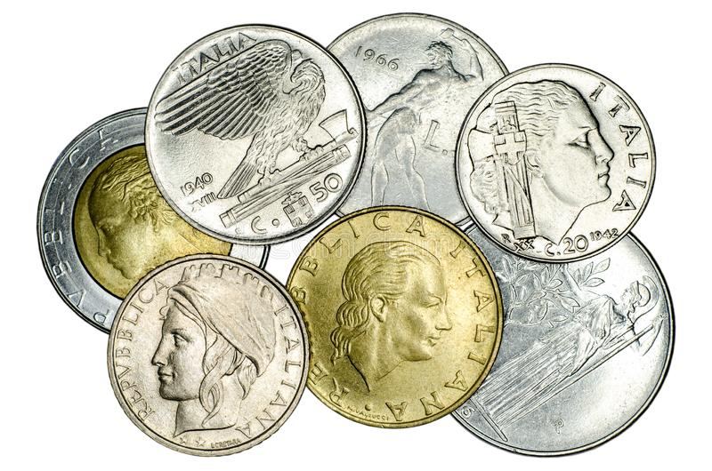 Different Italian coins stock photography