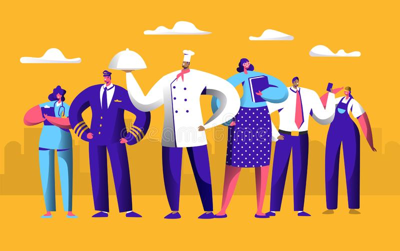 Different Job Worker Set for Labor Day Holiday Banner. People Group Work in Uniform. Chef, Pilot and Doctor Employment stock illustration