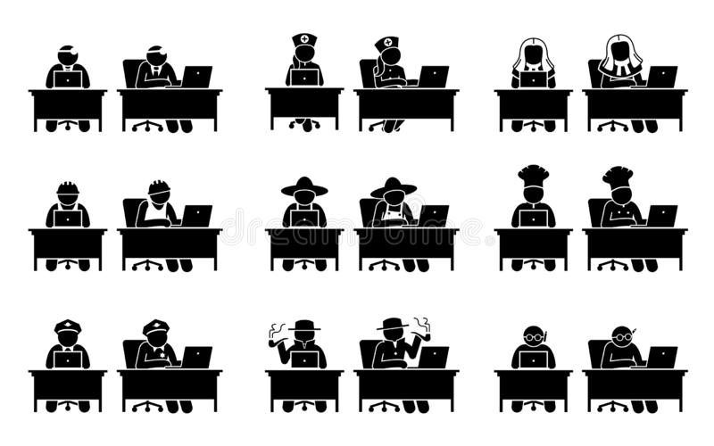 Different jobs of people using Internet through the computer. royalty free illustration