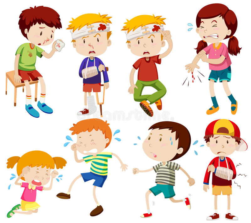 Different kids being sick and getting hurt royalty free illustration