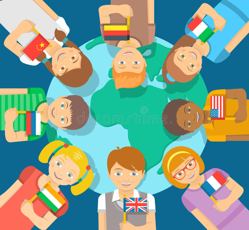 Different Kids with flags around the Earth royalty free illustration