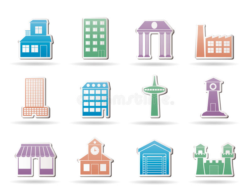 Different kind of building and City icons. Icon set stock illustration