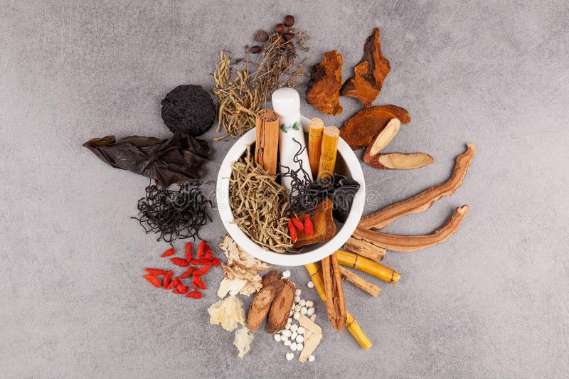 Traditional Chinese Medicine background. Different kind of Chinese herbal and mortar on gray background royalty free stock image