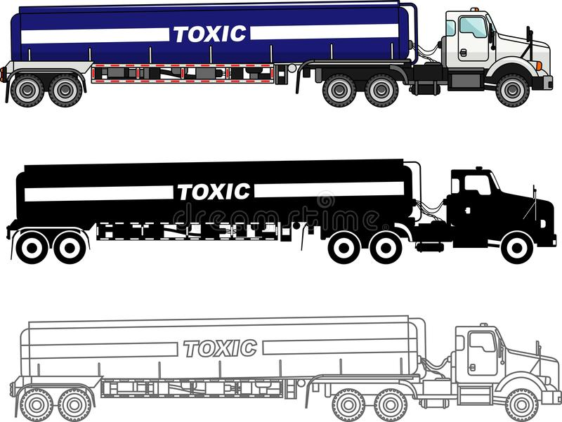 Different kind cistern trucks carrying chemical, radioactive, toxic, hazardous substances isolated on white background vector illustration