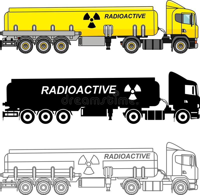 Different kind cistern trucks carrying chemical, radioactive, toxic, hazardous substances isolated on white background in flat sty vector illustration