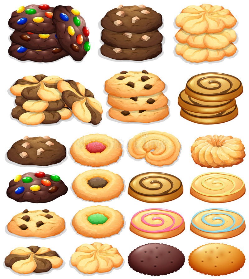 Different kind of cookies stock illustration