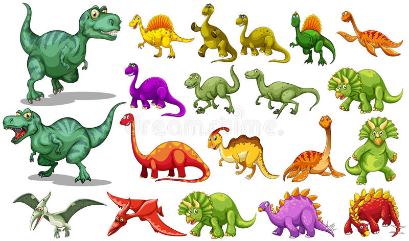 Different kind of dinosaurs vector illustration
