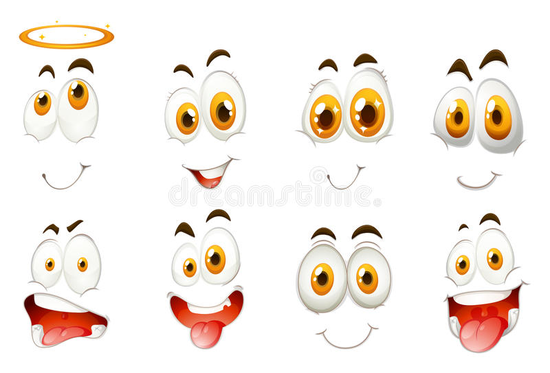 Different kind of facial expressions. Illustration royalty free illustration