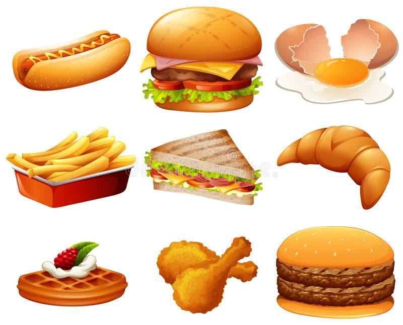 Different kind of fastfood. Illustration vector illustration