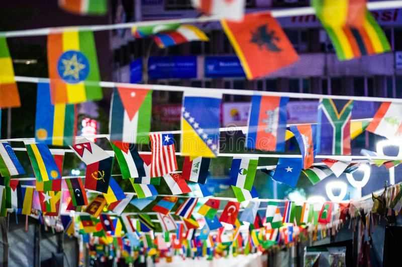 Different kind of flags of all of the world. In Trabzon, Turkey royalty free stock image