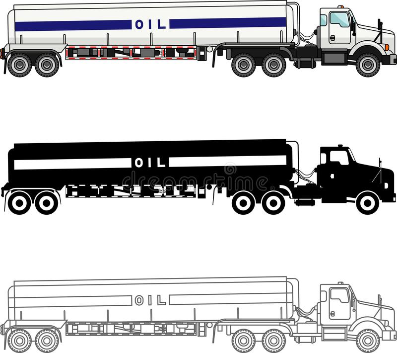 Different kind gasoline trucks on white background in flat style: colored, black silhouette and contour. Vector stock illustration