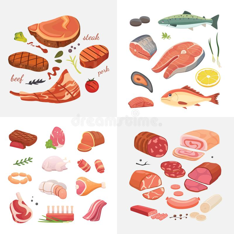 Different kind of meat food icons set vector. Raw ham, set grill chiken, piece of pork, meatloaf, whole leg, beef and royalty free illustration