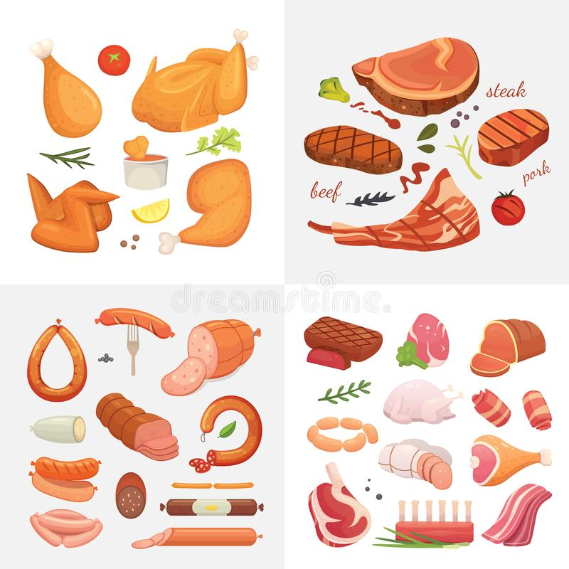 Different kind of meat food icons set vector. Raw ham, set grill chiken, piece of pork, meatloaf, whole leg, beef and vector illustration