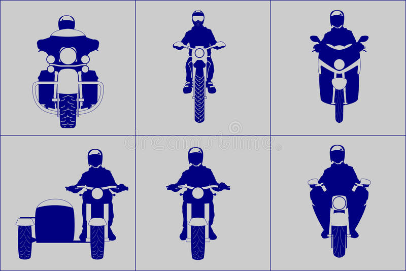 Different kind motorcycle with riders front view icon set. Different kind motorcycle with riders front view vector illustration simplifying icon set stock illustration