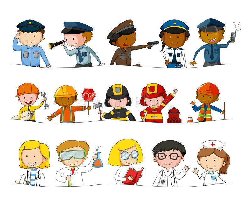 Different kind of occupations vector illustration