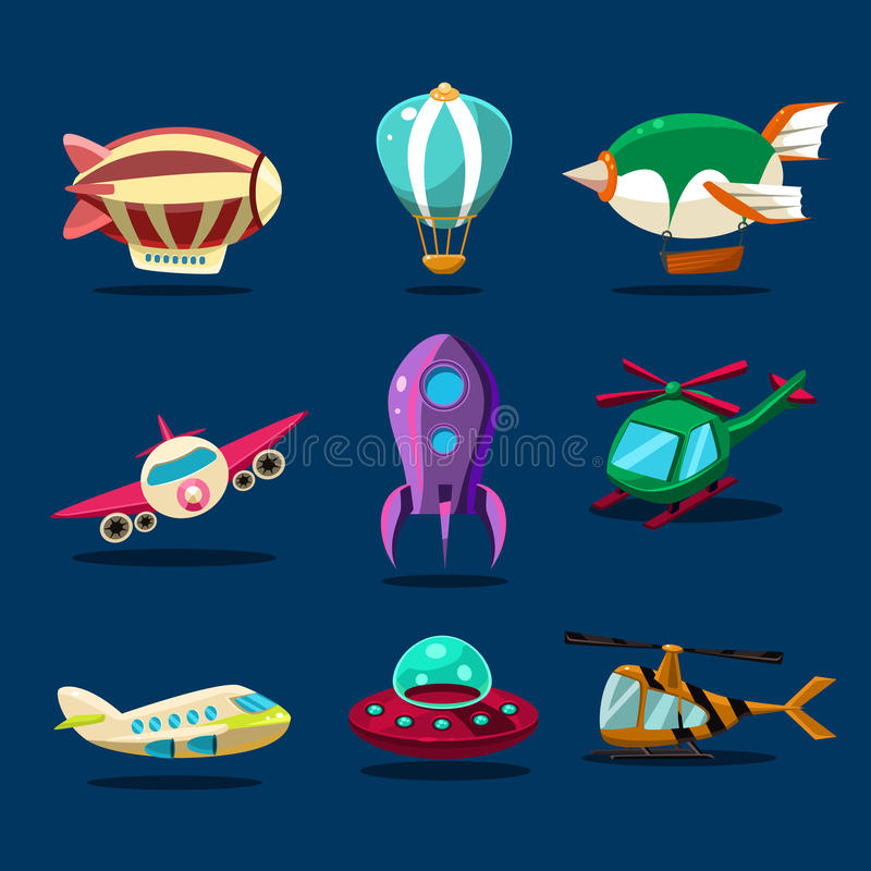 Different kind of planes vector illustration
