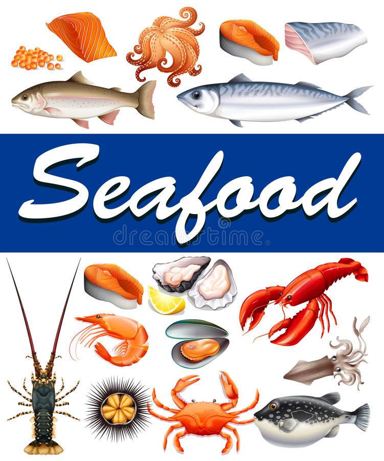 Different kind of seafood and text royalty free illustration