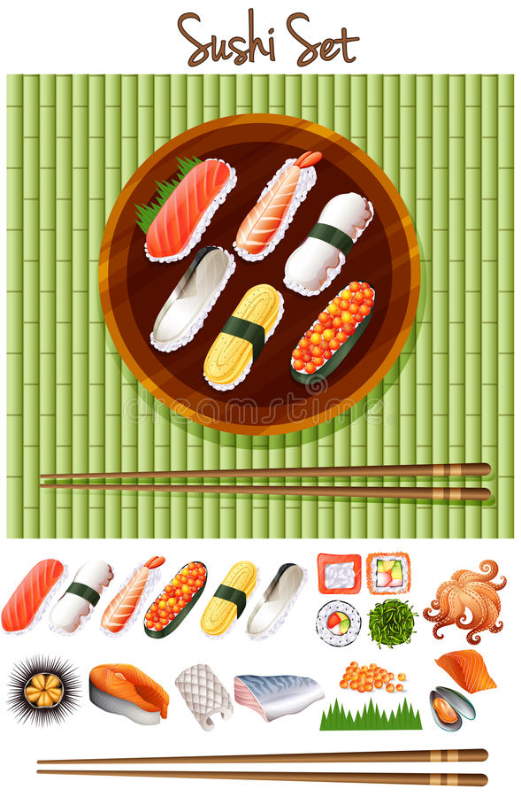 Different kind of sushi roll royalty free illustration