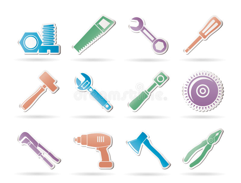 Different Kind Of Tools Icons Stock Photo