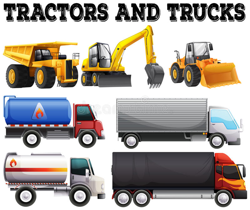 Different kind of tractors and trucks vector illustration