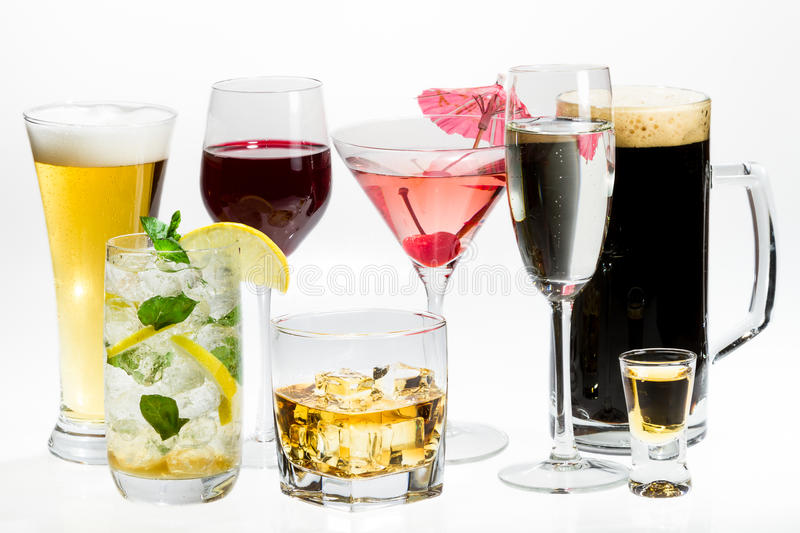 Different kinds of alcohol royalty free stock image