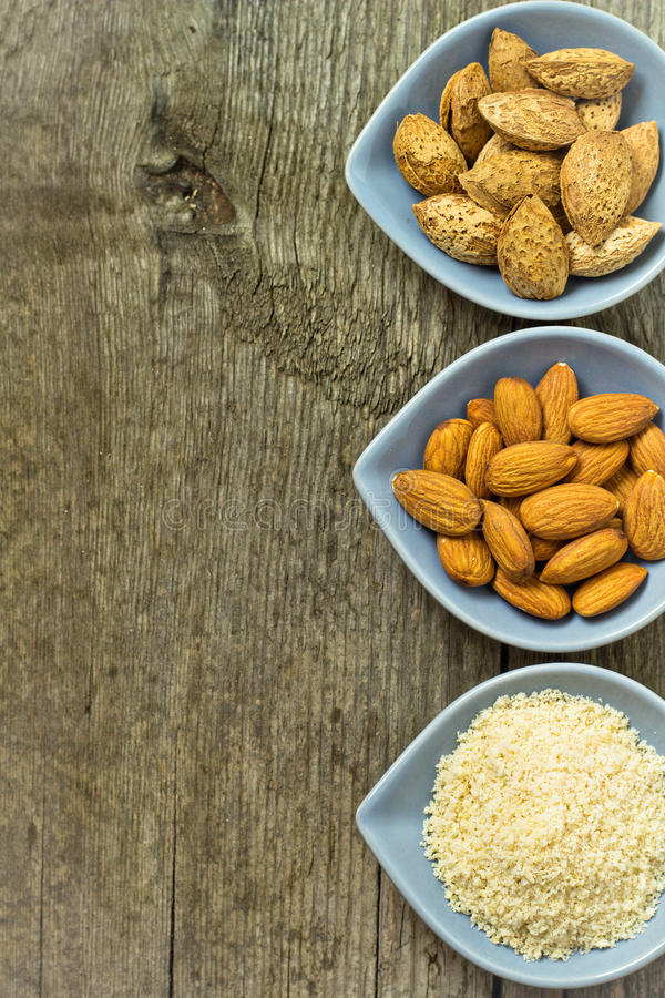 Different kinds of almond nuts royalty free stock photos