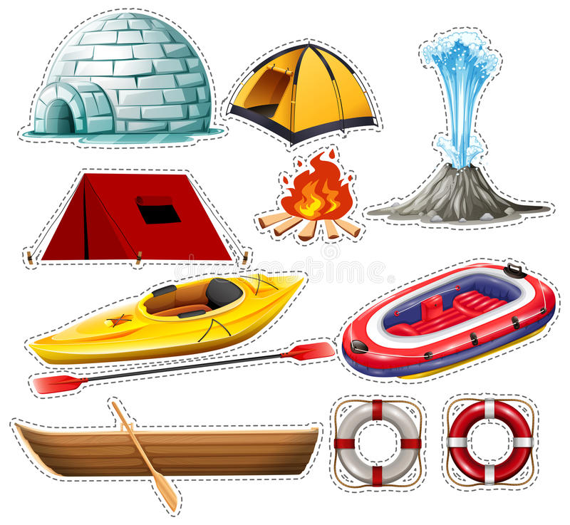 Different kinds of boats and camping things royalty free illustration