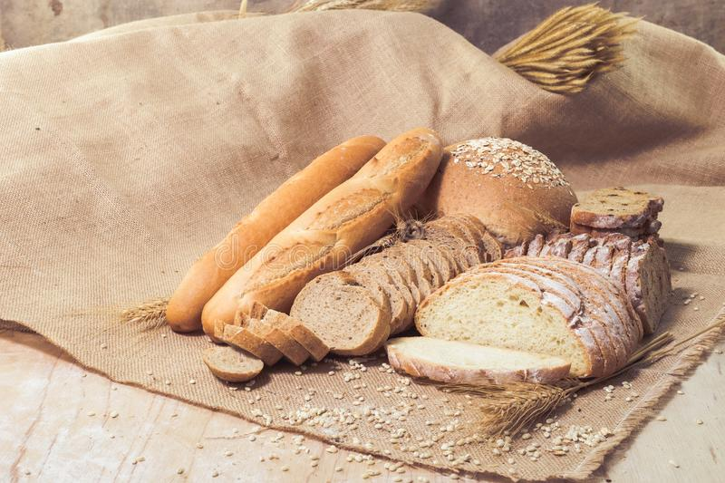 Different kinds of bread stock images