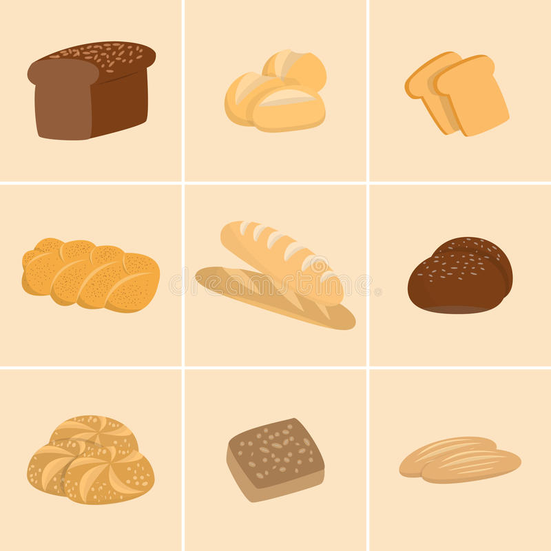 Different kinds of bread set. Collection of isolated pastry items top view for print or web. Bakery shop menu. royalty free illustration