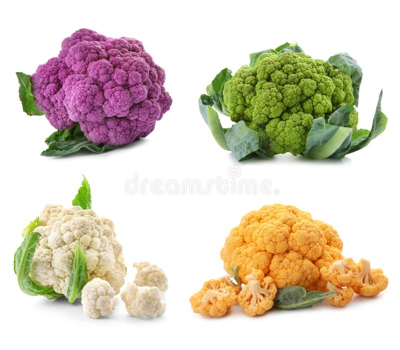 Different kinds of cauliflower cabbage on white background royalty free stock photos