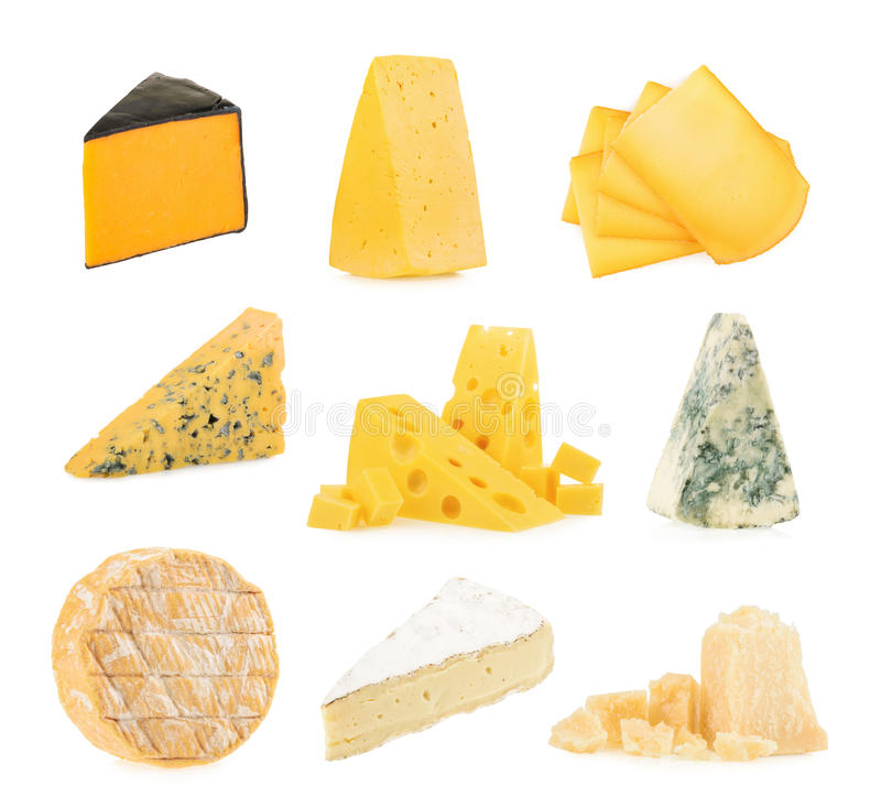 Different kinds of cheeses isolated on white background royalty free stock photo