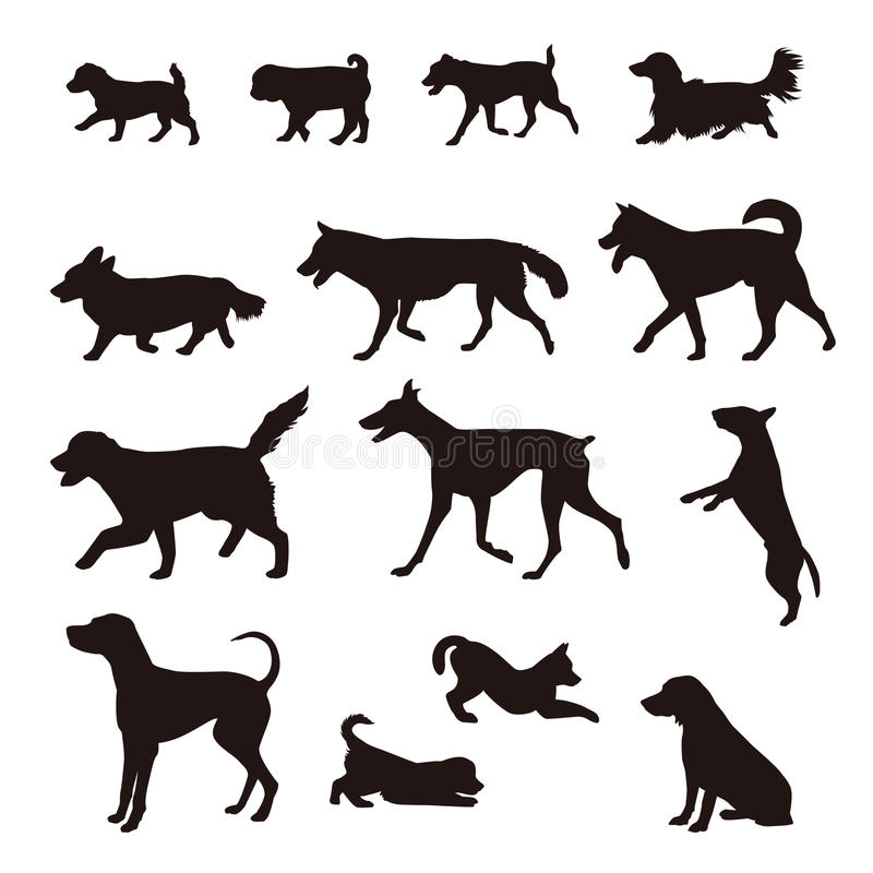 Different kinds of dog silhouette royalty free illustration