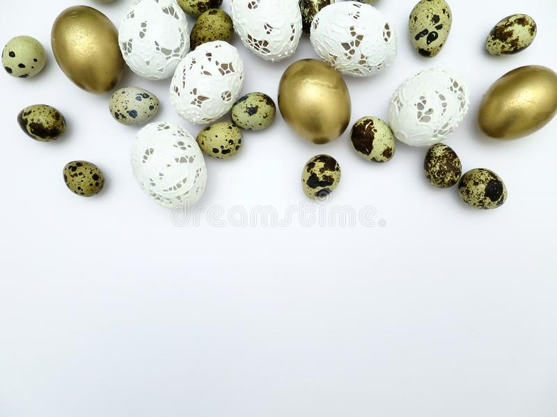 Different kinds of Easter eggs on a white background stock image