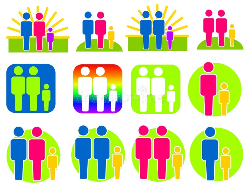 Different Kinds of Families Clip Art royalty free illustration