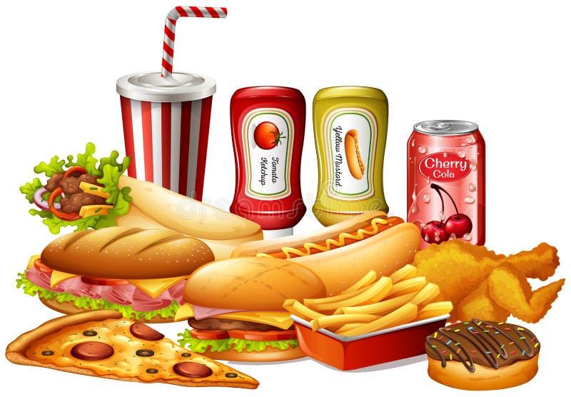 Different kinds of fastfood vector illustration