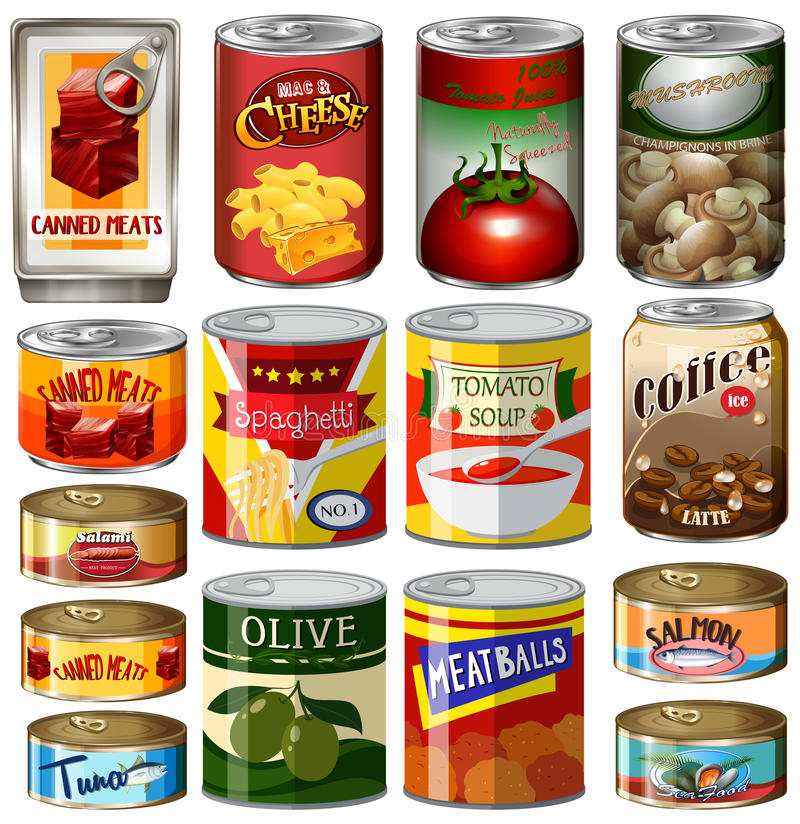 Different kinds of food in can royalty free illustration