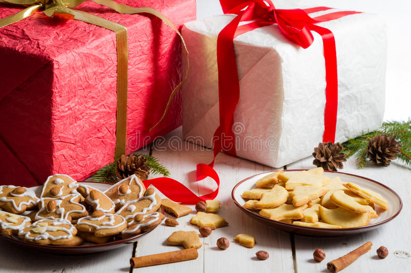 Different kinds of gingerbread Christmas cookies royalty free stock photos