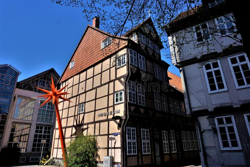 Different kinds of half-timbered houses and modern buildings in Celle. Germany royalty free stock images