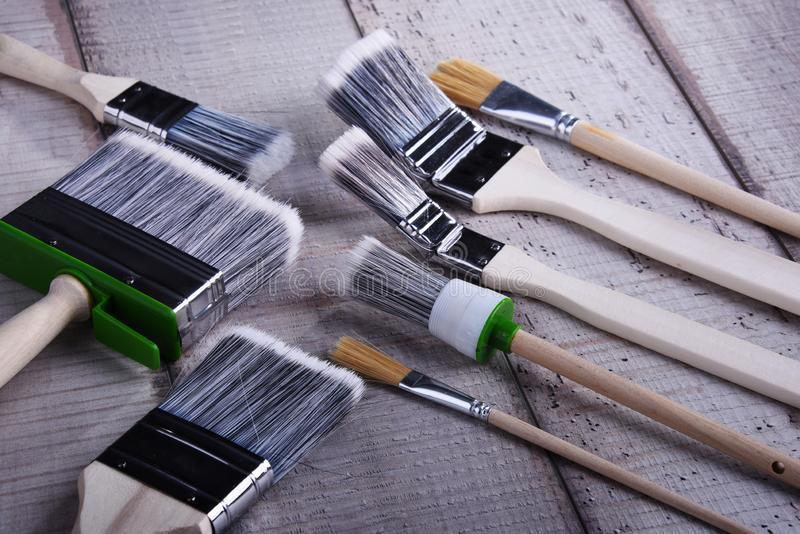 Different kinds of paintbrushes for home decorating purposes.  royalty free stock photos